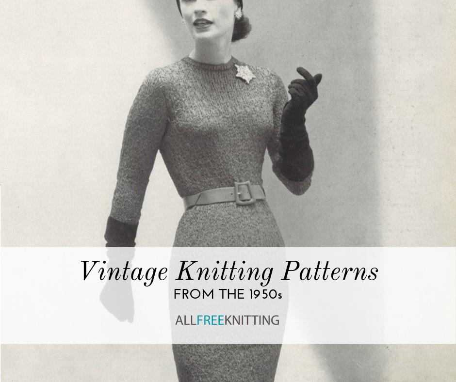 VINTAGE  KNITTING PATTERN 1950/'s CARDIGAN W LARGE COLLAR