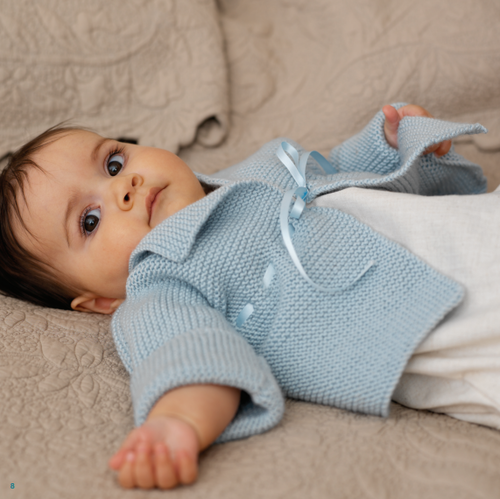 Garter Stitch Matinee Knit Baby Jacket