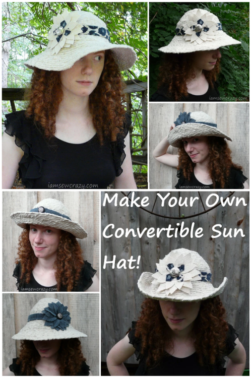 DIY Sun Hat Made With Twisted Strips of Fabric