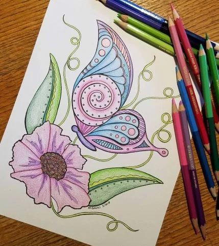 Beautiful Butterfly Floral Coloring Page