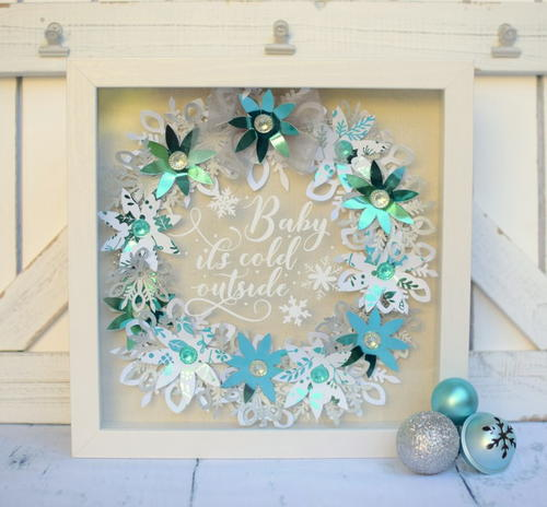 Baby Its Cold Outside Shadowbox Wreath