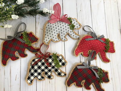 Rustic Burlap Bear Christmas Ornaments