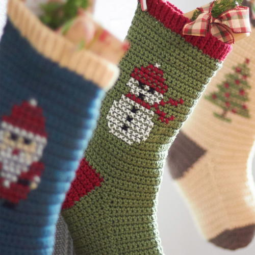 Cross Stitch Crochet Christmas Stockings