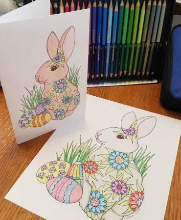 Flower Power Bunny Coloring Page