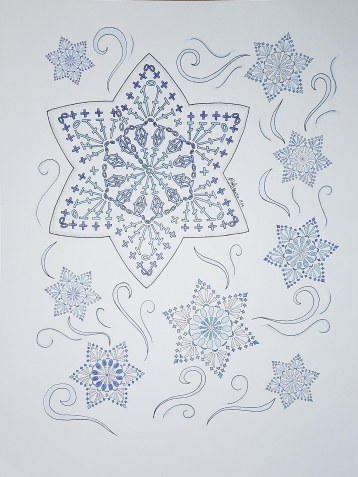 Crochet Snowflake Coloring Page