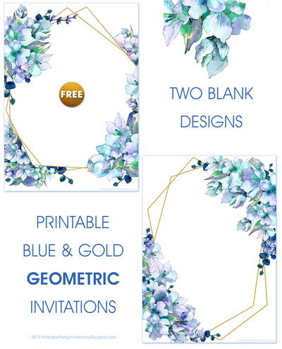 Blue and Gold Invitations or Journaling Cards