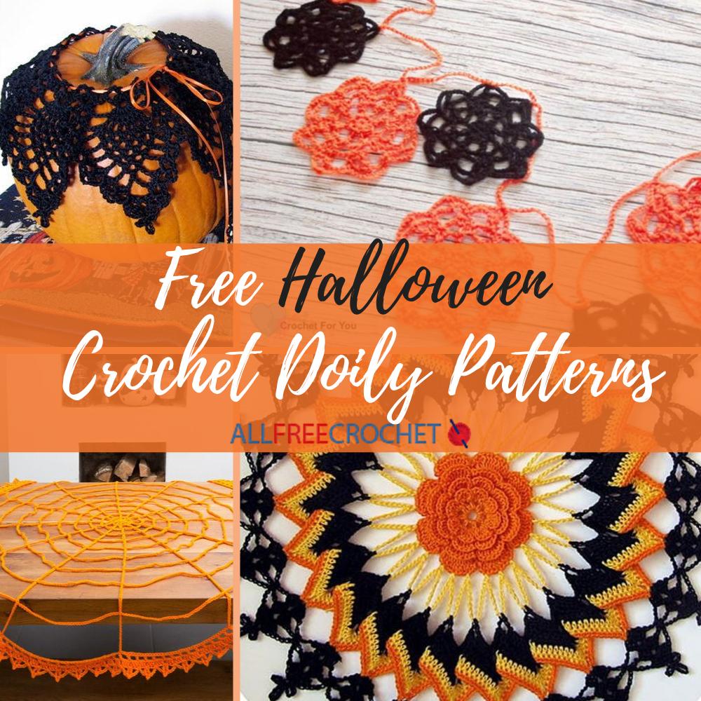PATTERN Crocheted Halloween Spider Edge Doily