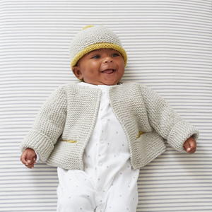 Garter Stitch Jacket and Hat Knitting Pattern for Baby