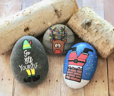 Silly Christmas Painted Rocks