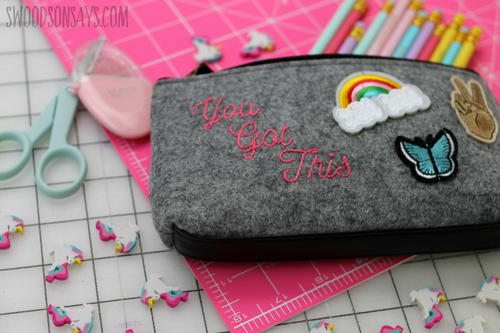 DIY embroidered felt pouch