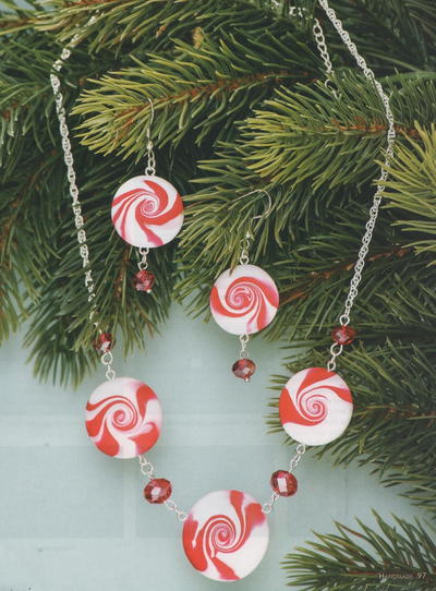 Peppermint Pendant and Earrings