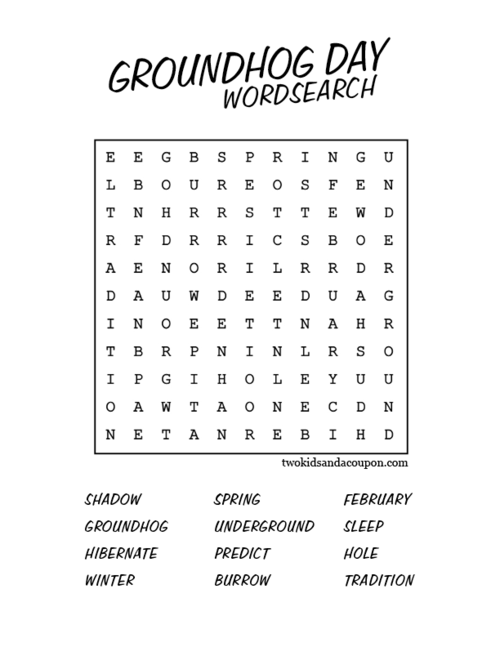 Free Printable Groundhog Day Word Search