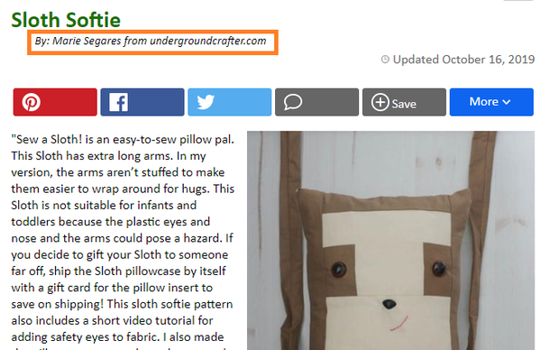 Marie Segares' Byline on her project Sloth Softie