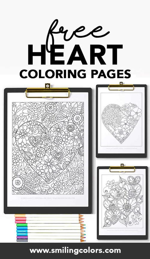 Flower And Heart Coloring Pages