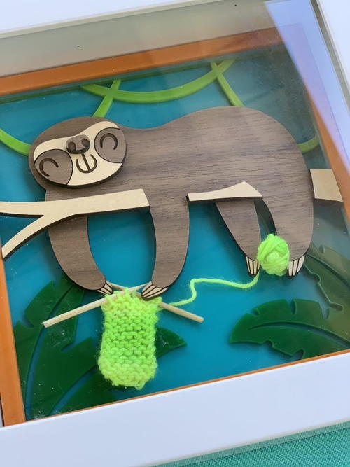 Laser Cut Knitting Sloth