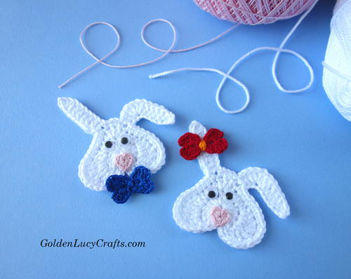 Crochet Heart Bunny Applique