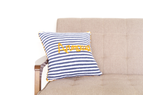 Baby Name Crochet Throw Pillow