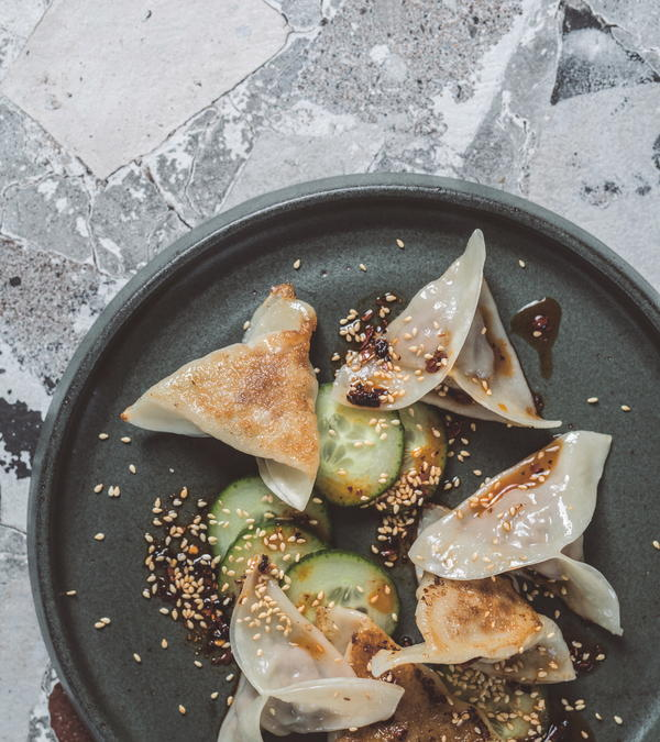 Panfried Pork and Kimchi Dumplings