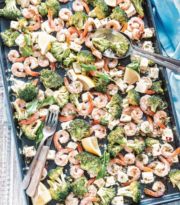 Roasted Shrimp with Feta and Broccoli