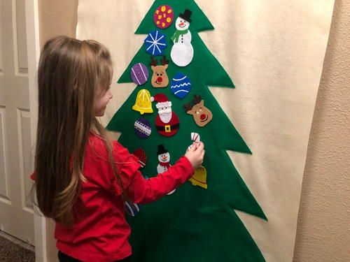 Hanging Christmas Tree With Ornaments For Kids