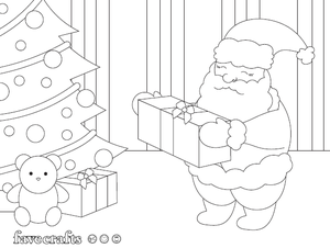 Santa Leaving Presents Coloring Page