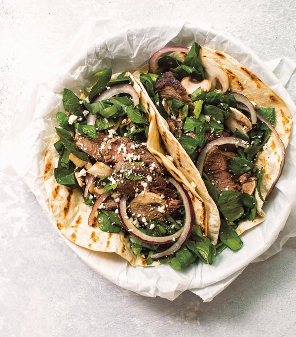 Spinach Salad Steak Tacos
