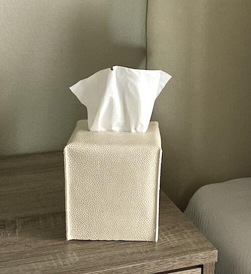 Faux Leather Tissue Box Cover
