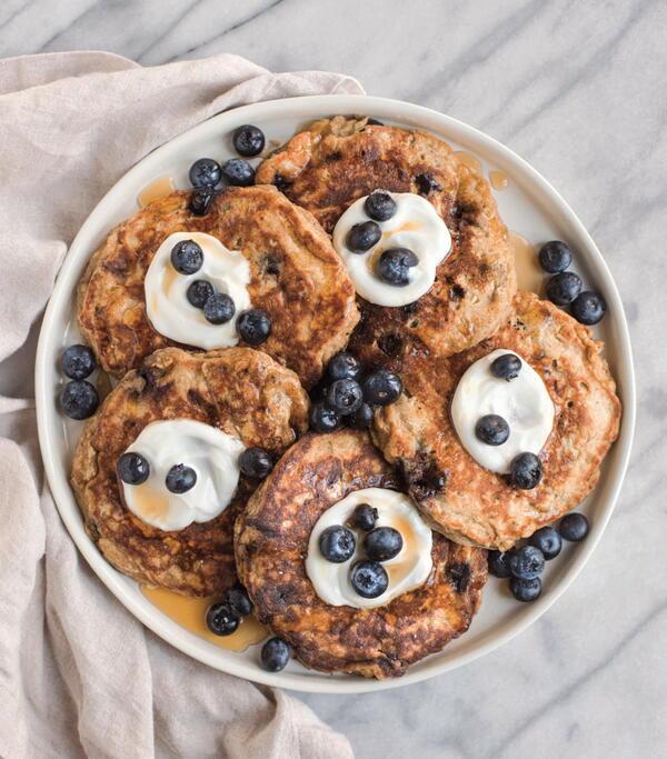 Blueberry-Banana Greek Yogurt Pancakes