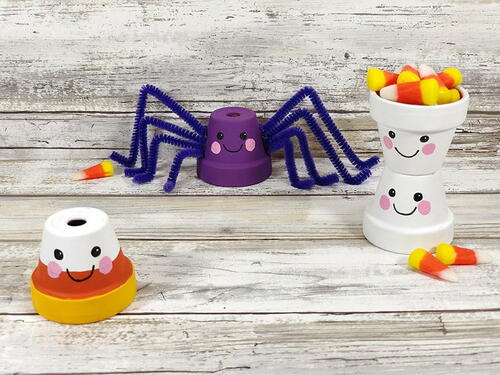 Easy Kawaii Inspired Halloween Clay Pot Crafts