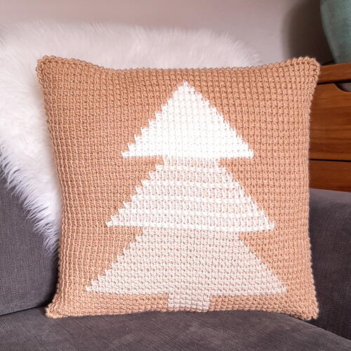 Tunisian Crochet Christmas Tree Pillow