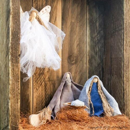 Clothespin And Twine Nativity Scene
