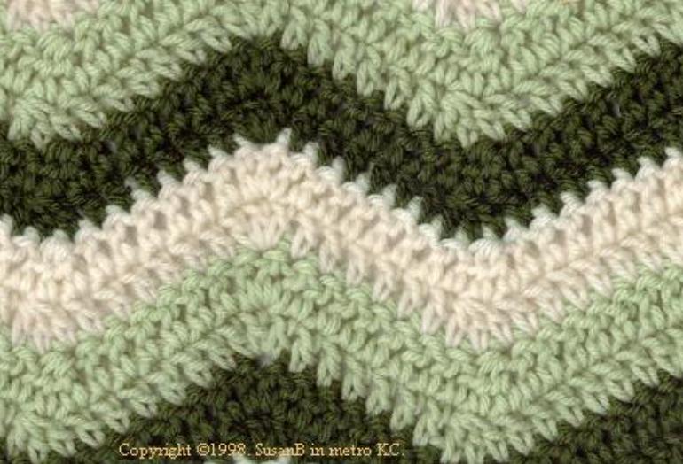Green Ripple Crocheted Afghan