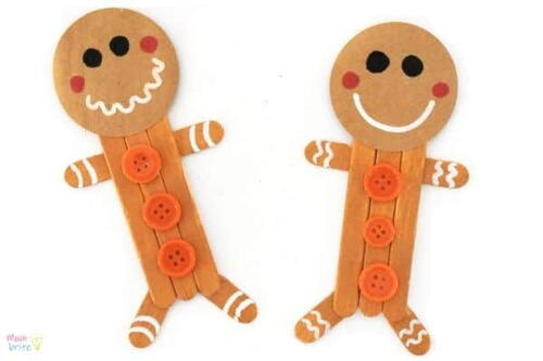 Popsicle Stick Gingerbread Man Craft