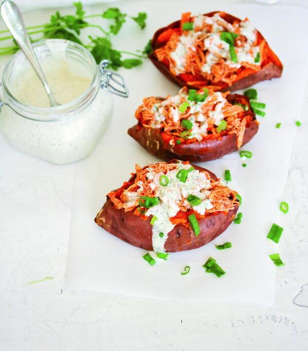 Buffalo Chicken-Stuffed Sweet Potatoes