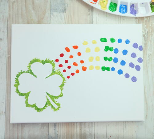 Shamrock Rainbow Fingerprint Kids Craft