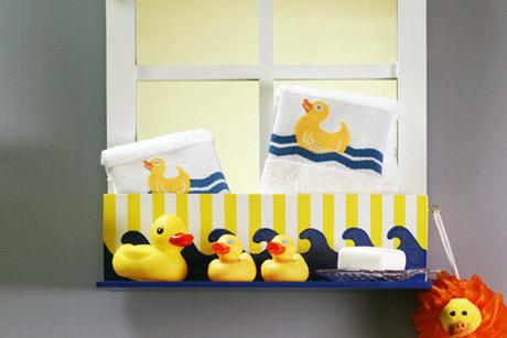 Rub a dub bath shelf for Duck bathroom accessories