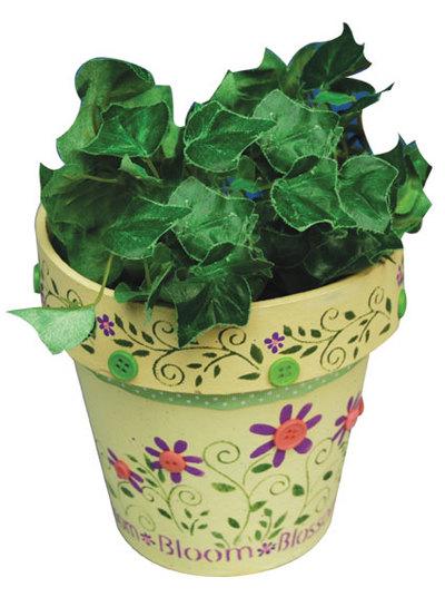 floral painted flower pots