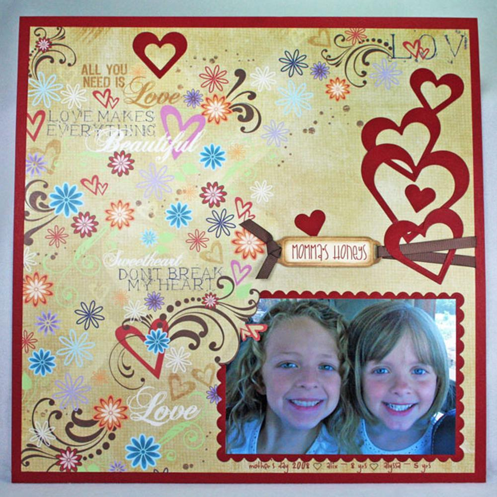 honey hearts scrapbook layout