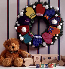 Christmas Greetings Mitten Wreath