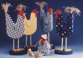 Rustic Country Chicken Figurines