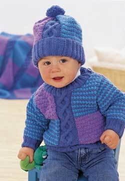 Cable and Blocks Baby Sweater and Hat