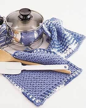 Simple Border Pot Holder and Dishcloth