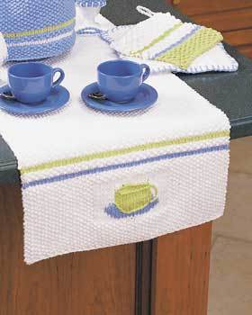 Teacup table runner knitting pattern for Fave crafts knitting patterns