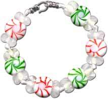 Christmas Peppermint Bead Bracelet