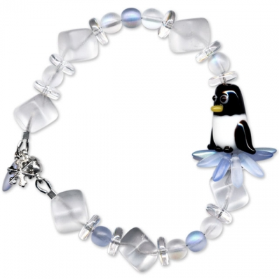Penguin and Snowflake Bead Bracelet