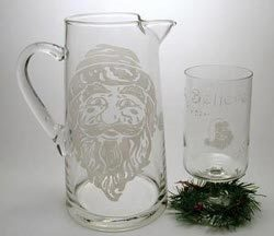 Etched Santa Pitcher