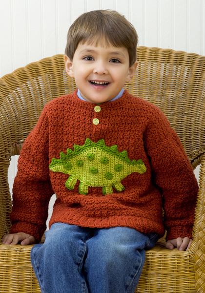 Dinosaur Sweater Crochet Pattern From Red Heart Yarn