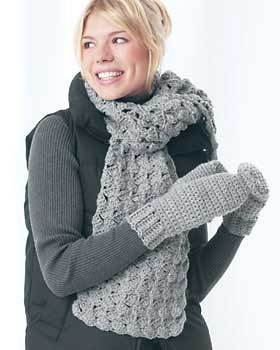 Free Crochet Pattern For Chunky Scarf : Chunky Crochet Mittens and Scarf FaveCrafts.com