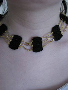 Black Rectangles on Gold Chain Necklace