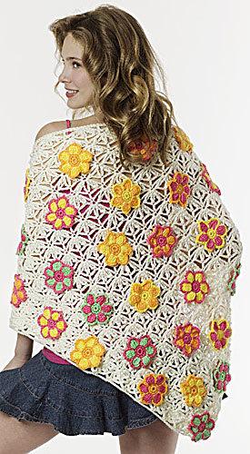 Summer Floral Shawl Crochet Pattern From Caron Yarn